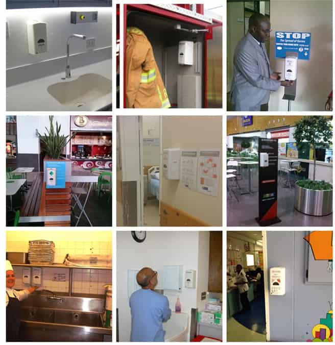 Hospital installed sanitizer dispenser